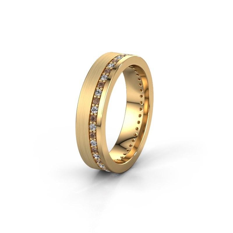 Trouwring WH0303L15BPM 585 goud bruine diamant 0.44 crt ±5x2 mm
