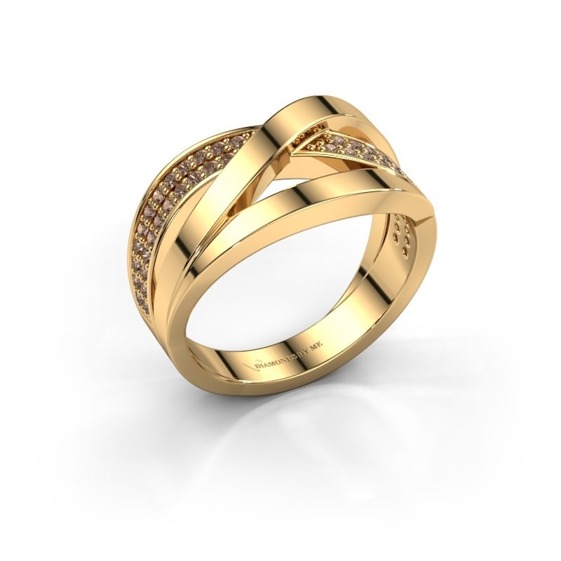 Bague Amira 375 or jaune diamant brun 0.345 crt