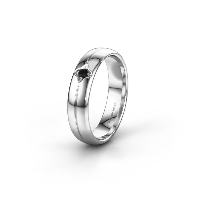 Wedding ring WH0221L35X 585 white gold black diamond ±5x1.5 mm