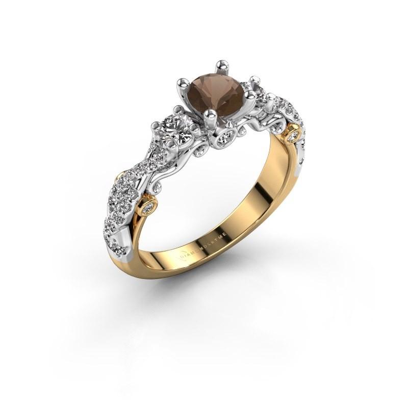 Verlovingsring Kourtney 585 goud rookkwarts 5 mm