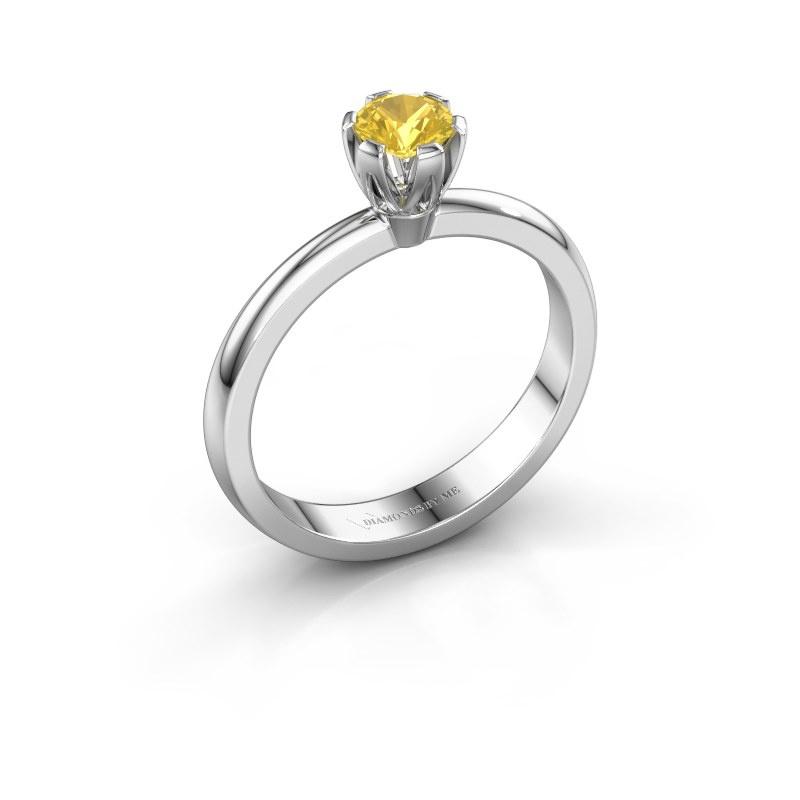 Verlovingsring Julia 925 zilver gele saffier 4 mm