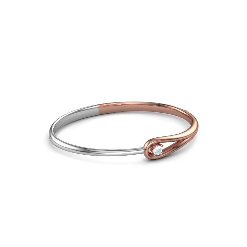 Slavenarmband Zara 585 rosé goud aquamarijn 4 mm