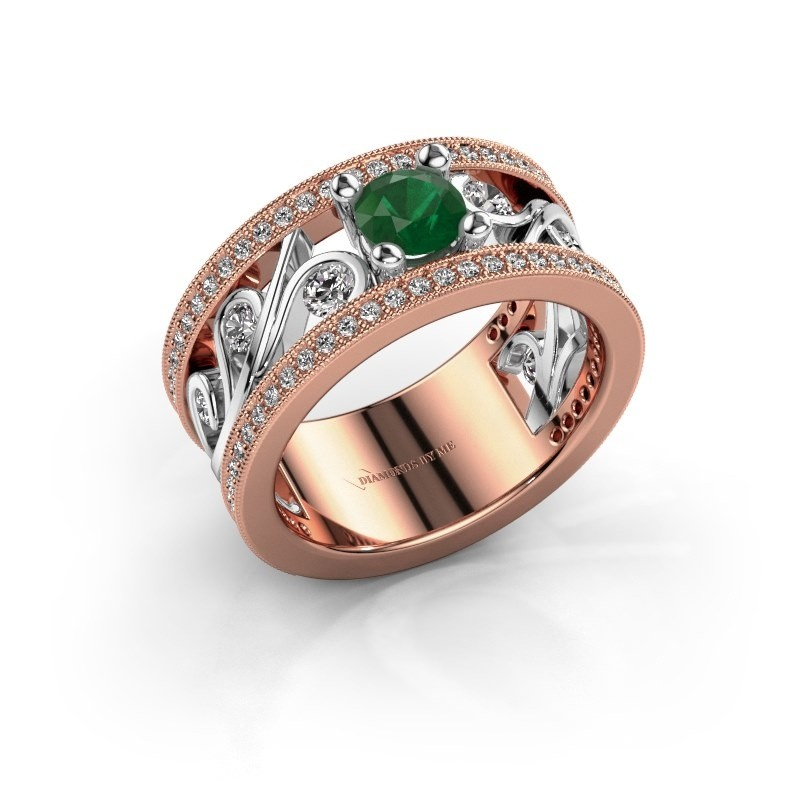 Ring Sanne 585 rosé goud smaragd 5 mm
