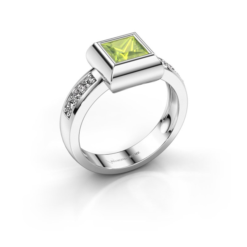 Ring Charlotte Square 585 white gold peridot 5 mm