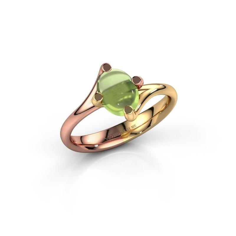 Ring Nora 585 rosé goud peridoot 8x6 mm