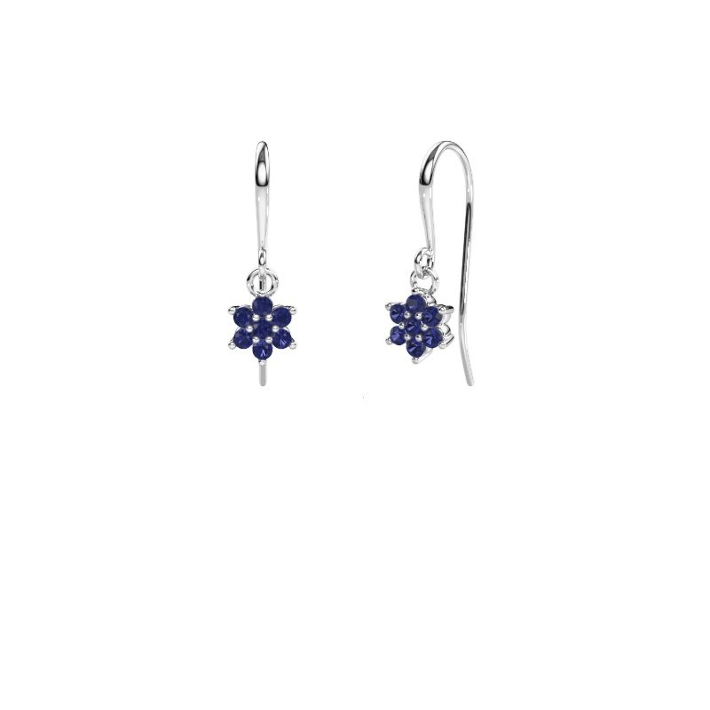Drop earrings Dahlia 1 950 platinum sapphire 1.7 mm