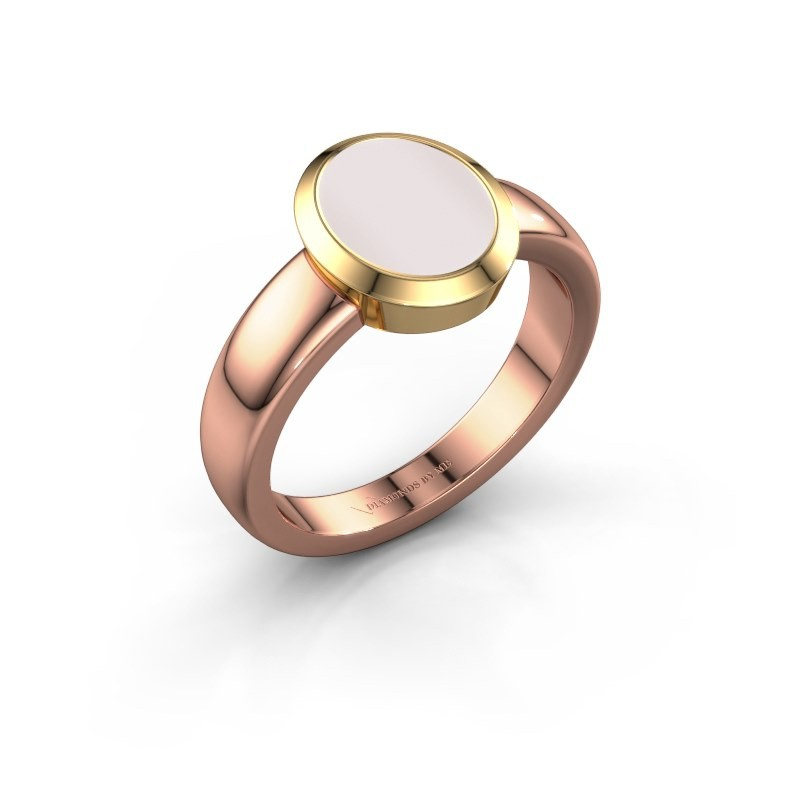 Zegelring Freeda 1 585 rosé goud rode lagensteen 10x8 mm