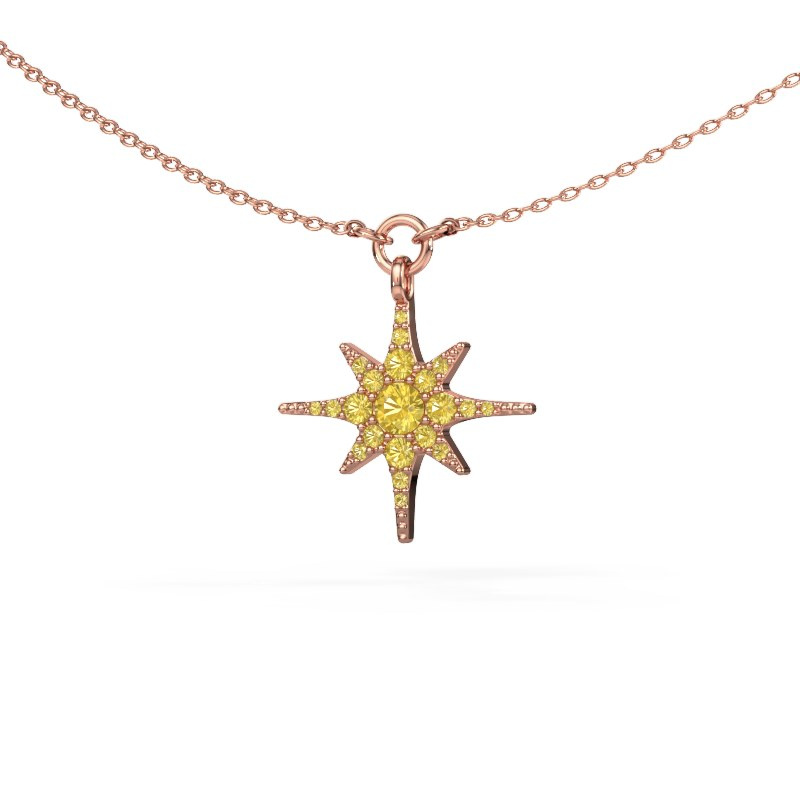 Halsketting Star 585 rosé goud gele saffier 3 mm