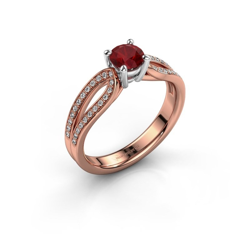 Verlovingsring Antonia 2 585 rosé goud robijn 5 mm