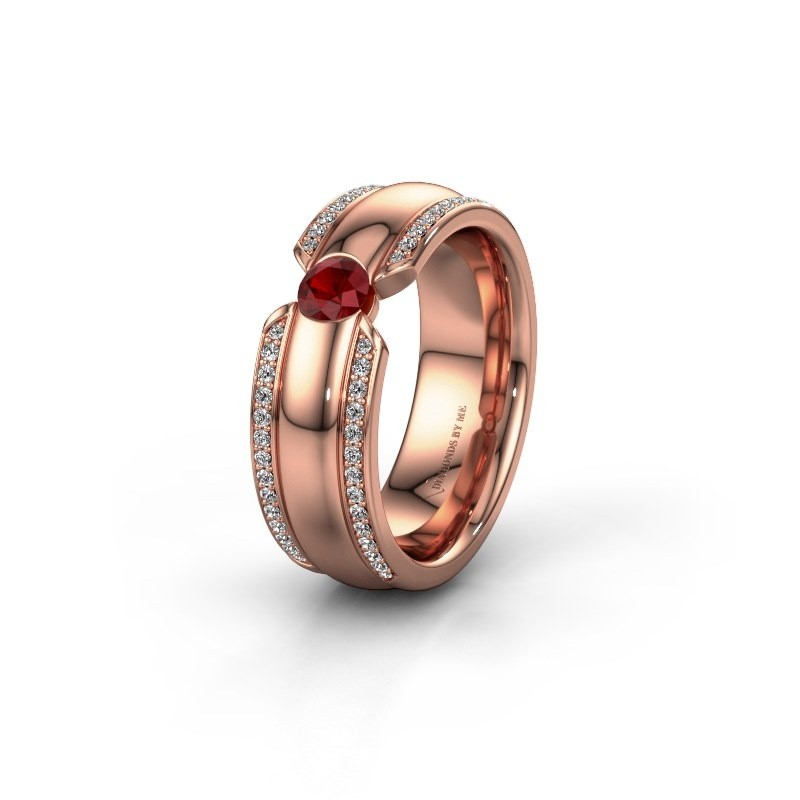 Wedding ring WHR0575L 375 rose gold ruby ±0.28x0.08 in