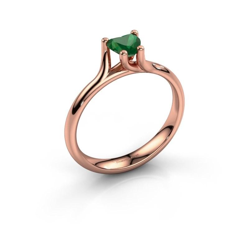 Verlobungsring Dewi Heart 375 Roségold Smaragd 5 mm
