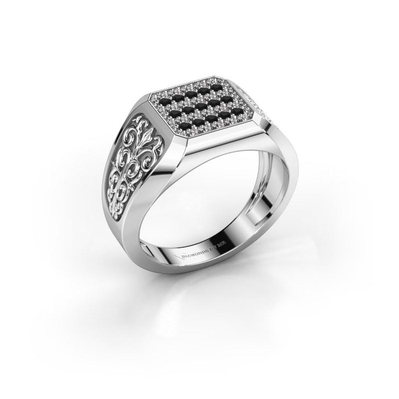 Herrenring Amir 925 Silber Schwarz Diamant 0.504 crt
