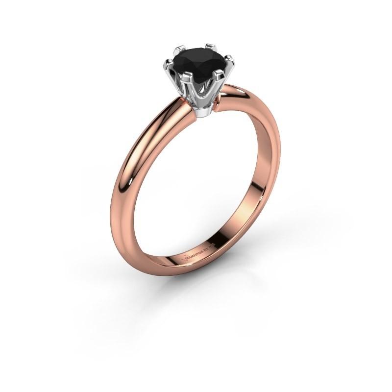 Verlovingsring Tiffy 1 585 rosé goud zwarte diamant 0.60 crt