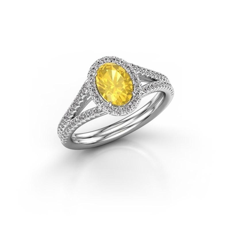 Engagement ring Rachele 2 585 white gold yellow sapphire 7x5 mm