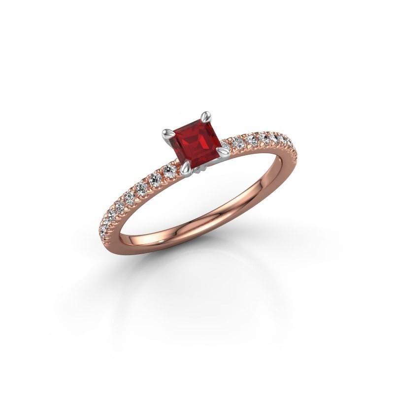 Verlobungsring Crystal ASS 2 585 Roségold Rubin 4.5 mm
