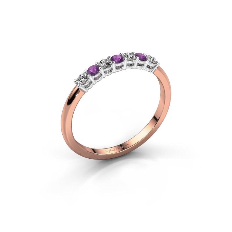 Verlovings ring Michelle 7 585 rosé goud amethist 2 mm