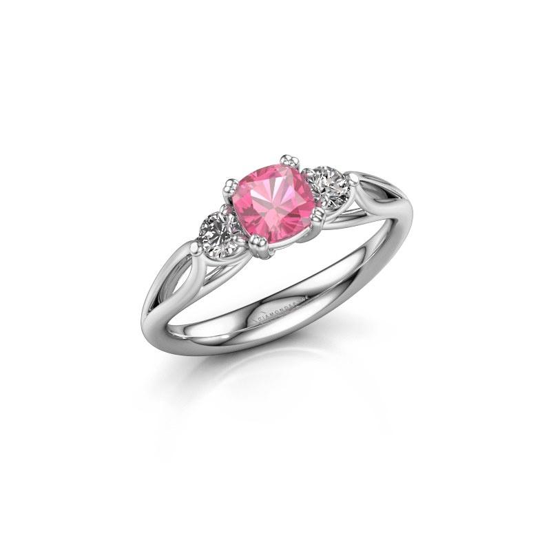 Verlovingsring Amie cus 950 platina roze saffier 5 mm