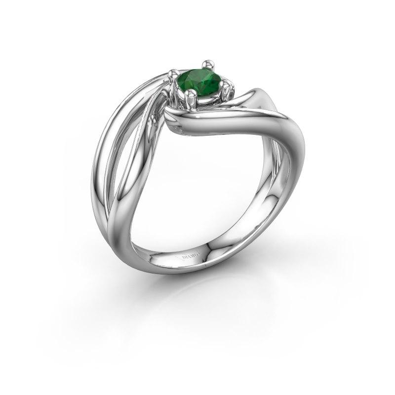Ring Kyra 585 witgoud smaragd 4 mm