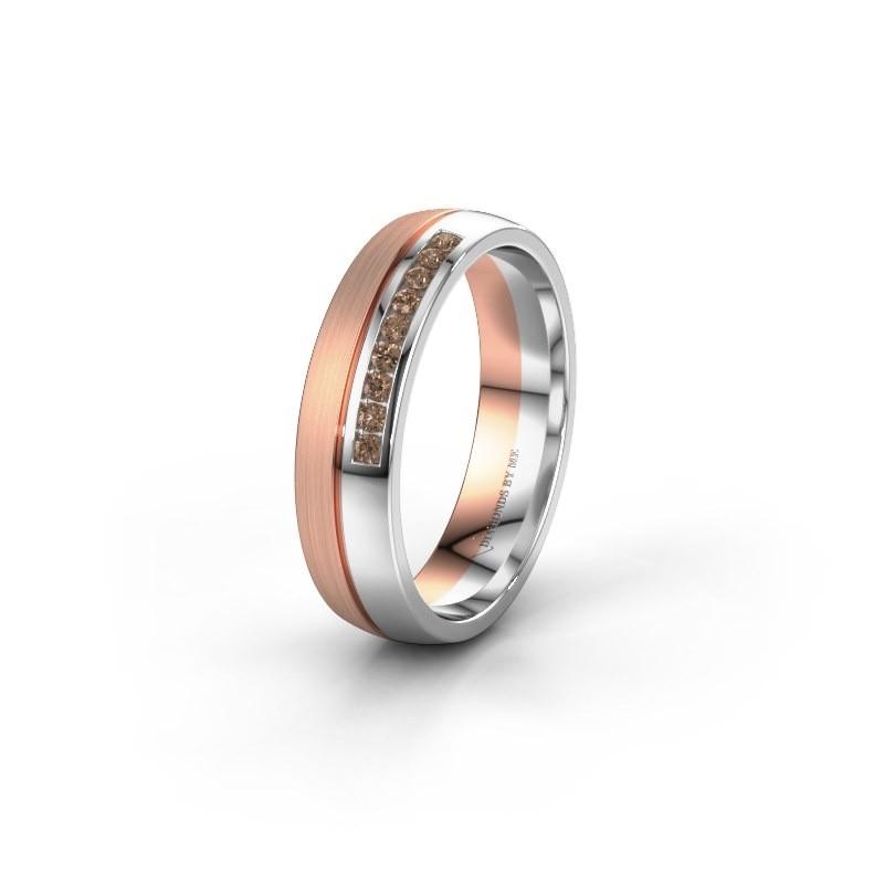 Wedding ring WH0209L25APM 585 rose gold brown diamond ±0.20x0.07 in