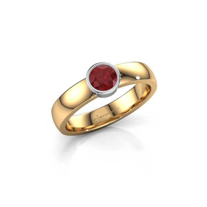 Ring Ise 1 585 goud robijn 4.7 mm