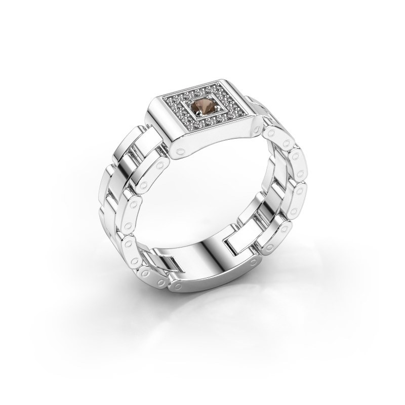 Rolex Stil Ring Giel 950 Platin Rauchquarz 2.7 mm
