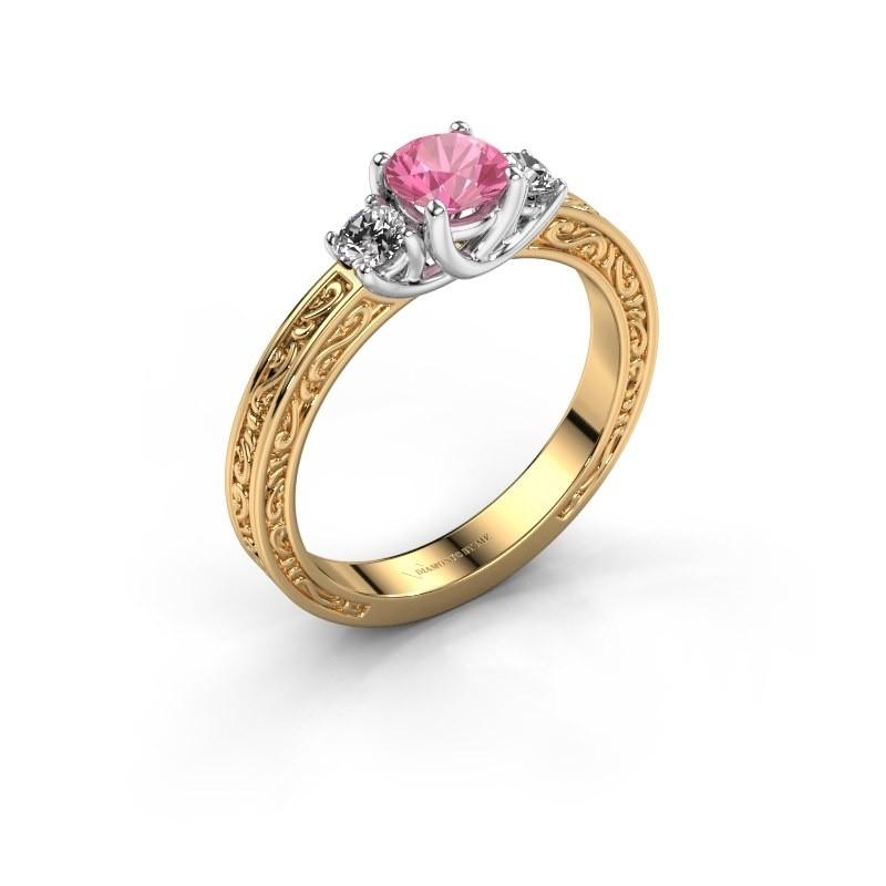 Verlovingsring Betty 1 585 goud roze saffier 5 mm