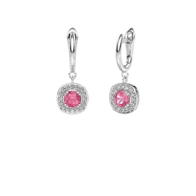 Drop earrings Marlotte 1 950 platinum pink sapphire 5 mm