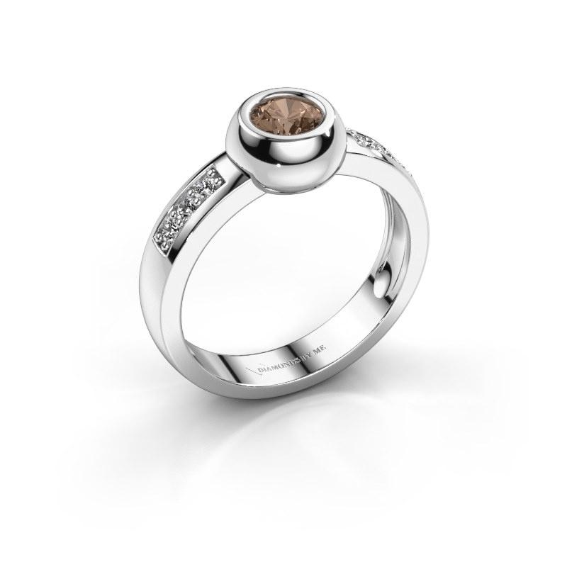 Ring Charlotte Round 585 witgoud bruine diamant 0.52 crt