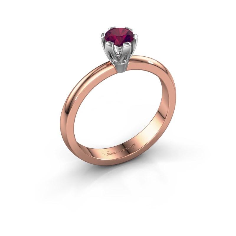 Verlovingsring Julia 585 rosé goud rhodoliet 4 mm