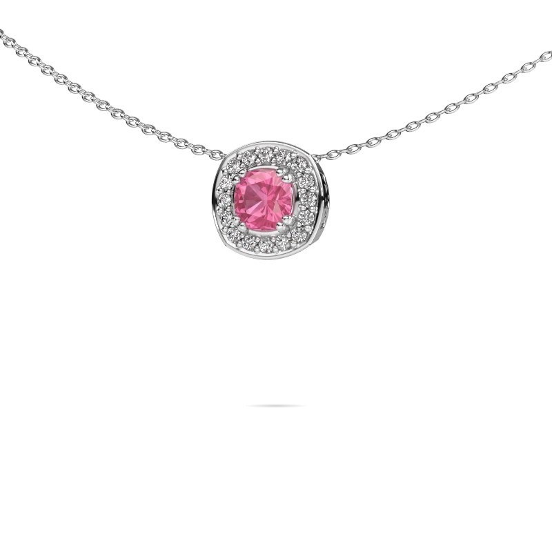 Ketting Carolina 925 zilver roze saffier 5 mm