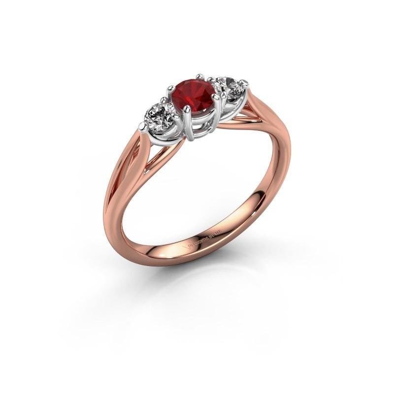 Verlovingsring Amie RND 585 rosé goud robijn 4.2 mm