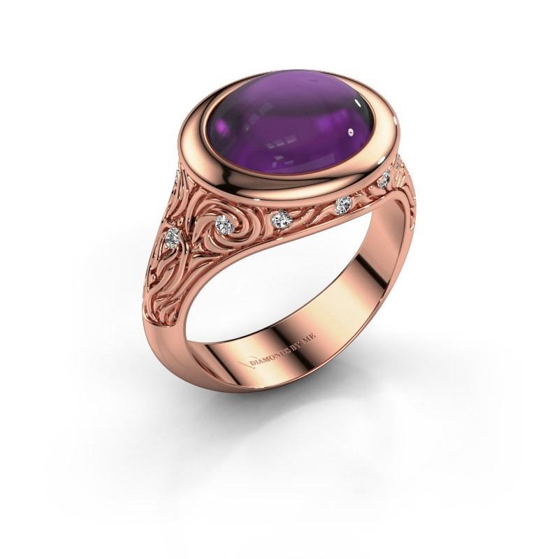Ring Natacha 375 rosé goud amethist 12x10 mm