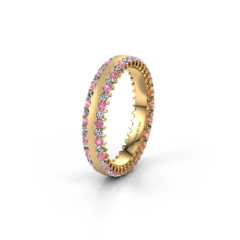 Trouwring WH2139L24B 375 goud roze saffier ±4x2 mm