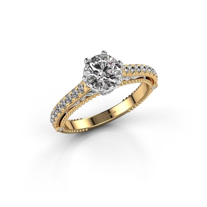 Engagement ring Venita 585 gold zirconia 6.5 mm