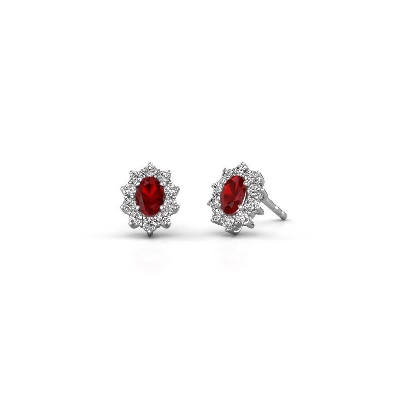 Earrings Leesa 925 silver ruby 6x4 mm