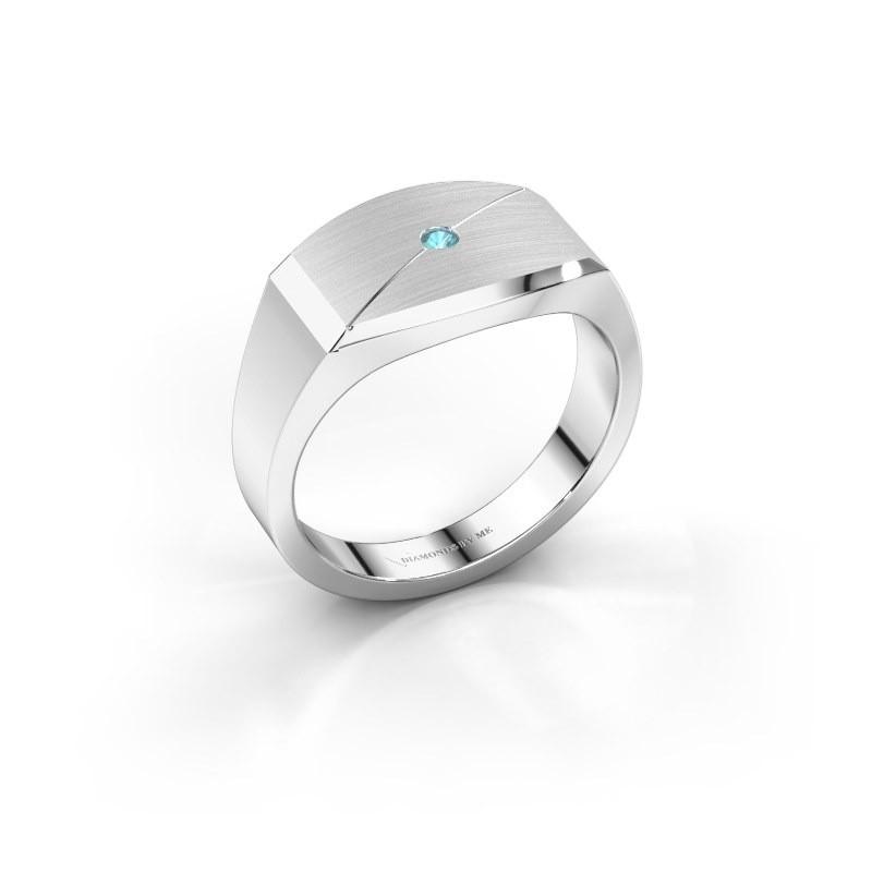 Heren ring Joe 5 950 platina blauw topaas 2 mm