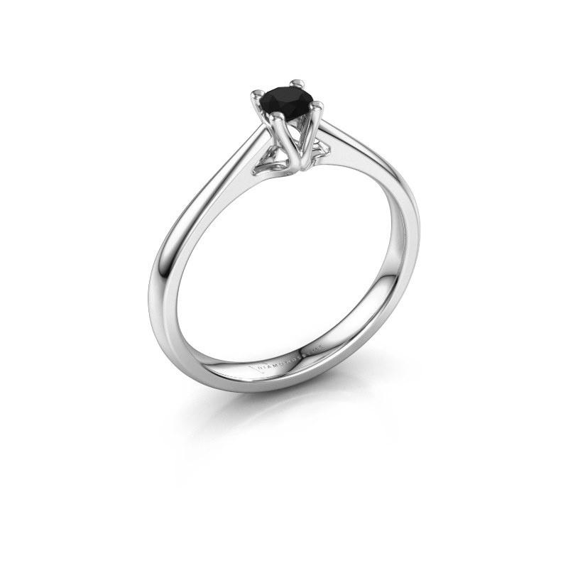 Bague de fiançailles Janna 1 585 or blanc diamant noir 0.18 crt