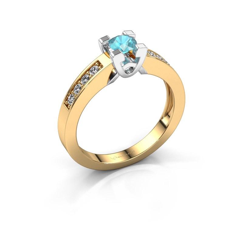 Verlovingsring Nina 2 585 goud blauw topaas 4.2 mm
