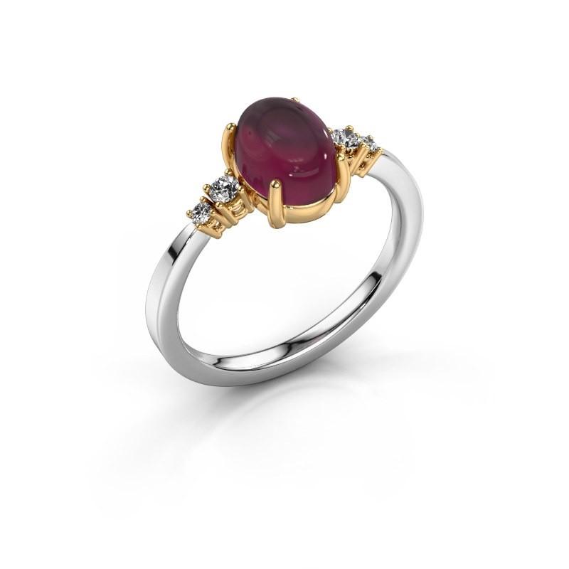 Ring Jelke 585 witgoud rhodoliet 8x6 mm