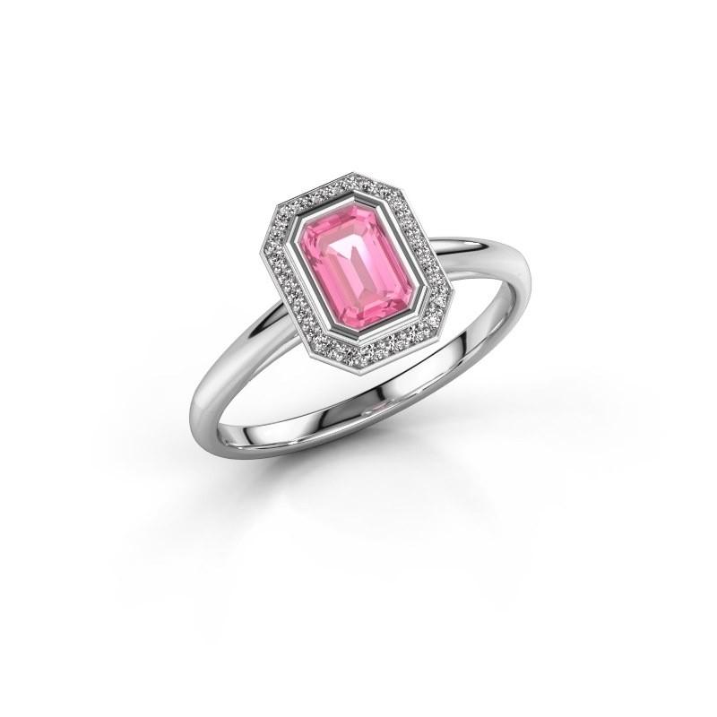 Verlovingsring Noud 1 EME 585 witgoud roze saffier 6x4 mm