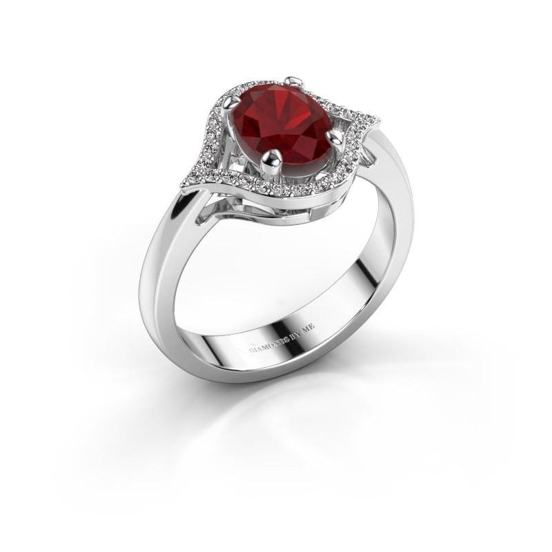 Ring Mendy 585 witgoud robijn 8x6 mm