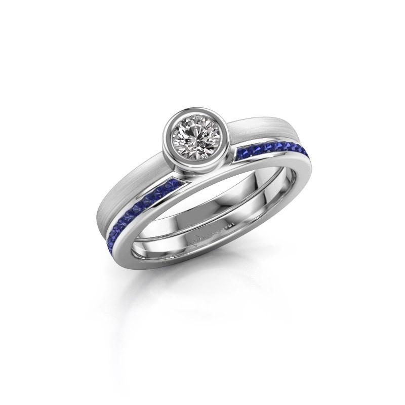 Ring Cara 585 witgoud saffier 4 mm