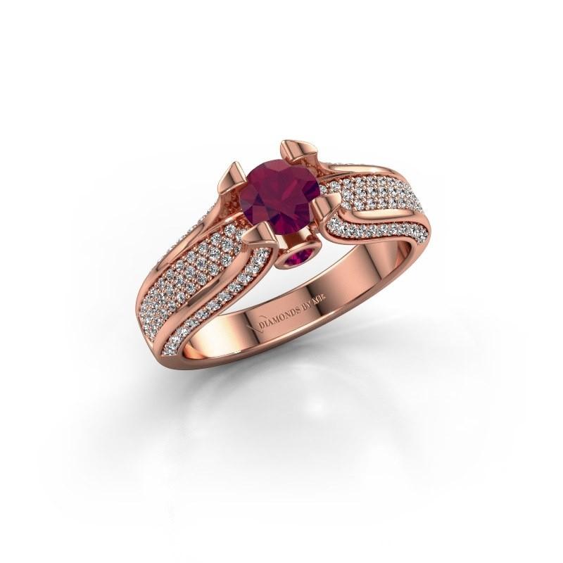 Verlovingsring Jeanne 2 375 rosé goud rhodoliet 5 mm
