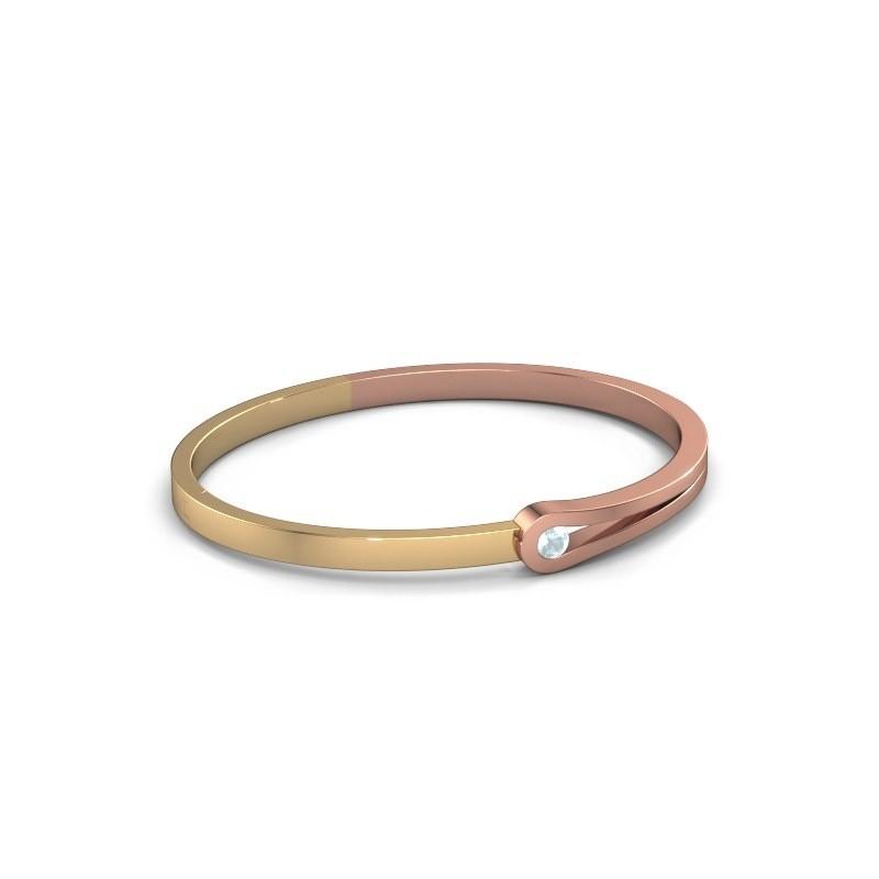 Slavenarmband Kiki 585 rosé goud aquamarijn 4 mm