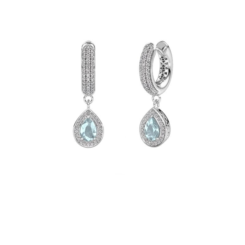 Drop earrings Barbar 2 950 platinum aquamarine 6x4 mm