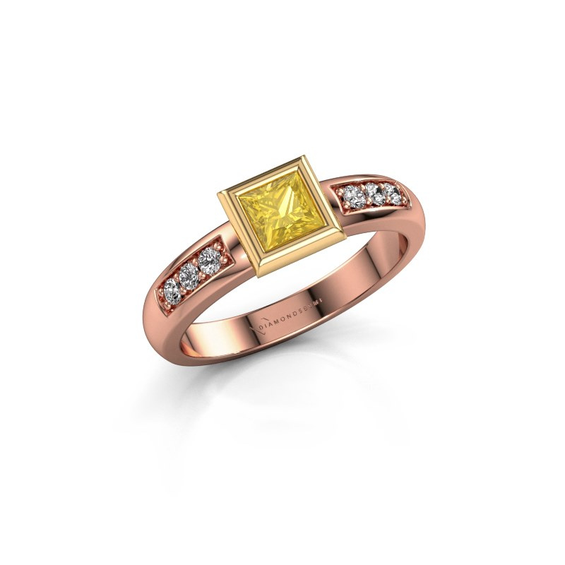 Stacking ring Lieke Square 585 rose gold yellow sapphire 4 mm