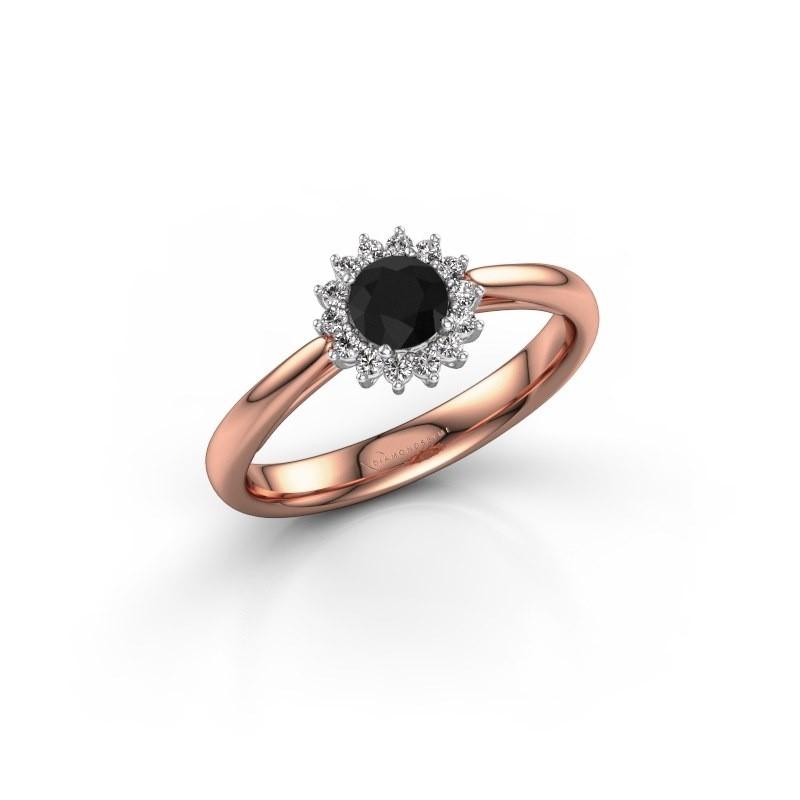 Engagement ring Tilly RND 1 585 rose gold black diamond 0.36 crt