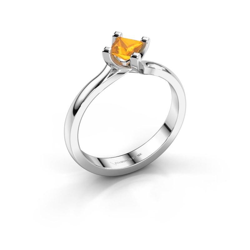 Engagement ring Dewi Square 950 platinum citrin 4 mm