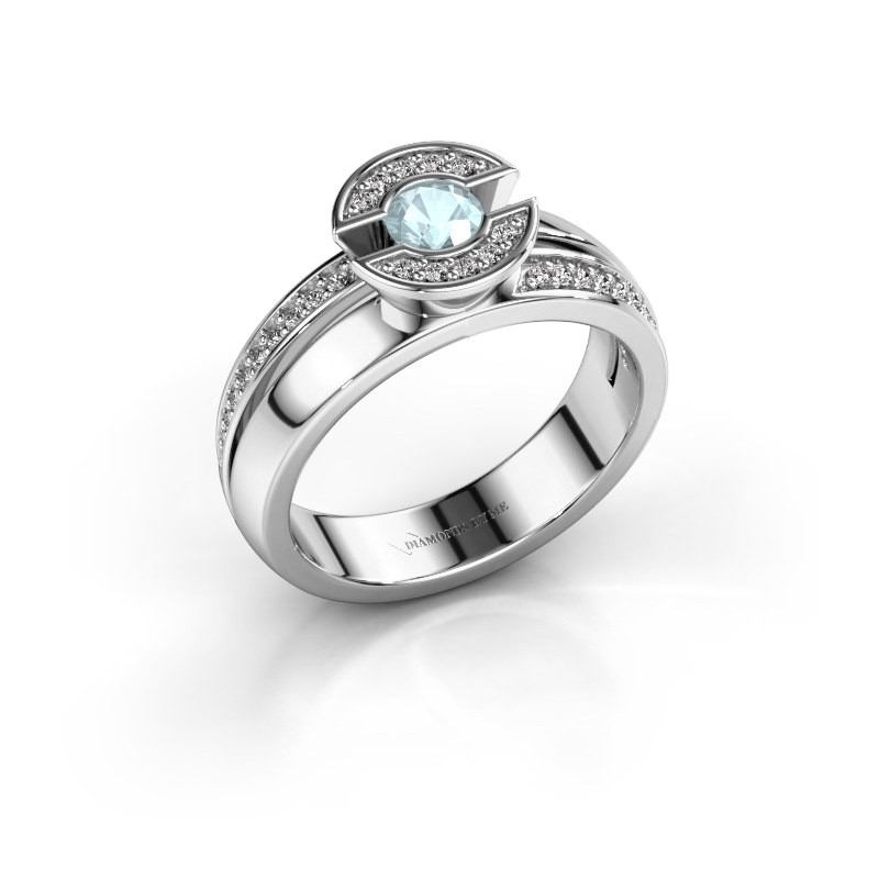 Ring Jeanet 2 585 white gold aquamarine 4 mm
