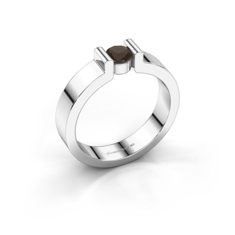Verlovingsring Isabel 1 925 zilver rookkwarts 4 mm